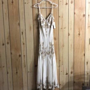 Off White Gold beading Evening Gown Size 14 NWT